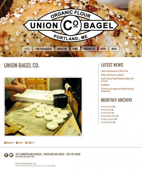 Responsive website design for Portland Maine's Union Bagel